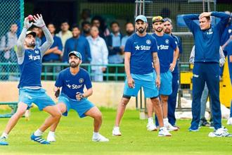 Anil Kumble at a recent practice session with the Indian team in Bengaluru. Photo: PTI