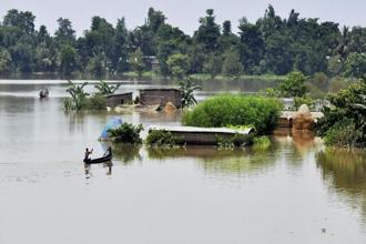 Flood affected village Mayong in Assam. More than two-lakh hectare of crop area has been affected in the state owing to the flood. Photo: PTI