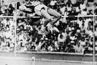 Dick Fosbury performing the high jump at the 1968 Olympics. Photo: Hulton Archive/Getty Images