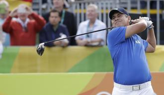 Adilson da Silva of Brazil, tees off on the on the first hole during the first round of the men's golf event at the 2016 Summer Olympics in Rio de Janeiro, Brazil on Thursday. Alastair Grant/AP