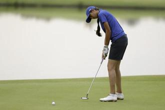 Aditi Ashok putts on the 2nd hole during the second round of the women's golf event at Rio Olympics in Rio de Janeiro on Thursday. Photo: AP