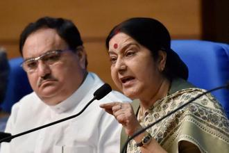 External affairs minister Sushma Swaraj (right) and health minister J.P. Nadda addressing a press conference after the Union Cabinet gave its approval for introduction of Surrogacy (Regulation) Bill 2016, in New Delhi on Wednesday. Photo: PTI