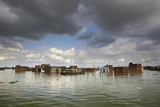 Houses partially submerged in Allahabad on Sunday. Photos: PTI