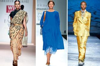 In vogue: (from left) Leopard-pattern Tussar sari by Abraham & Thakore; blue layered dress in Jamdani by Rina Singh of Eka; and a gold raw silk pantsuit by Rajesh Pratap Singh