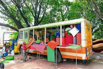 A bus that has been converted into a shop selling mats visits different locations in Bengaluru. Hemant Mishra/Mint