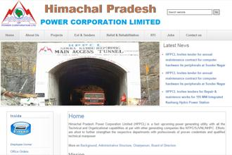 A screen grab of Himachal Pradesh Power Corporation website.