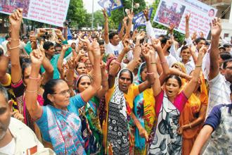 A file photo of a Dalit protest in Ahmedabad following the incident of violence against the community in Una. Photo: HT