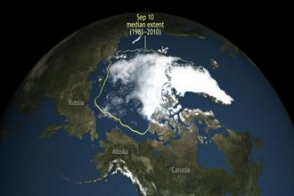 Arctic sea ice this summer shrank to its second lowest level since scientists started to monitor it by satellite. Photo: AP/National Snow & Ice Data Center