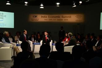 Panellists at the India Economic Summit organized by the World Economic Forum. Photo: Ramesh Pathania/Mint