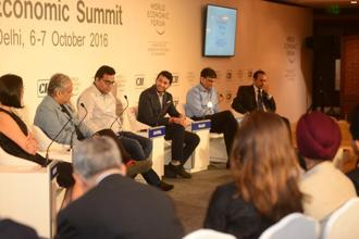 A session on start-ups in progress at the India Economic Summit 2016. Photo: Ramesh Pathania/Mint