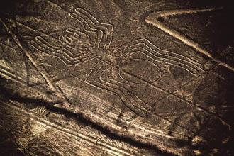 An etching of a spider in the Nazca desert. Photos: iStock