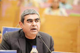 CEO Vishal Sikka said Infosys was scaling back its growth target because it had performed poorly in the first quarter and on account of near-term uncertainties. Photo: Hemant Mishra/Mint