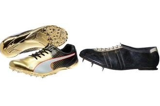 Bolt's golden sprinting boots, and (right) Jesse Owens' boots from 1936.