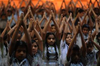The PIL said that Right to Health cannot be secured without providing 'yoga and health education' to all children or framing a 'National Yoga Policy' to promote it. Photo: Anshuman Poyrekar/ Hindustan Times