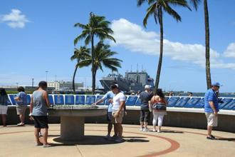 Tourists at Pearl Harbour Historic Sites.