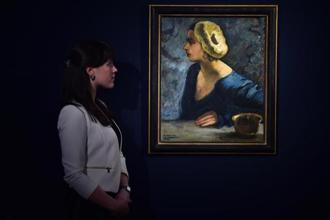 A 1931 self-portrait by Sher-Gil at Christie's auction house, London, in 2015. Photo: AFP
