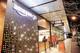 An Amazon Go brick-and-mortar grocery store in Seattle, US. Photo: Reuters
