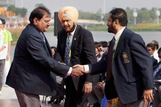 The appointment of Suresh Kalmadi, right, and Abhay Singh Chautala, left, as Life Presidents of the Indian Olympic Association has sparked a fresh controversy. Photo: PTI