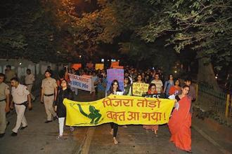 Pinjra Tod campaign members in Delhi university north campus on 23 September. Photo: Amal K.S./ Hindustan Times