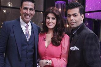 Akshay Kumar (Left) and Twinkle Khanna (Centre)with Karan Johar on the fifth edition of show 'Koffee with Karan'.
