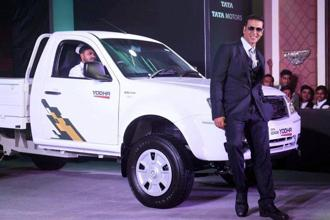 Bollywood actor and brand ambassador of Tata Motors, Akshay Kumar, during the launch of new Tata Xenon Yodha in Mumbai on Tuesday. Photo: PTI