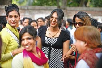 Members of the transgender community celebrating the Nalsa judgement. Photo: Virendra Singh Gosain/Hindustan Times