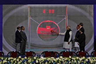 Prime Minister Narendra Modi inaugurates the country's first international exchange, India INX, at GIFT City in Gandhinagar. Photo: Reuters