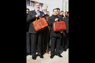 J&K finance minister Haseeb Drabu (left) ahead of the state budget presentation on Wednesday. Photo: PTI