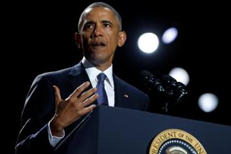 US President Barack Obama delivers his farewell address in Chicago, Illinois. Photo: Reuters
