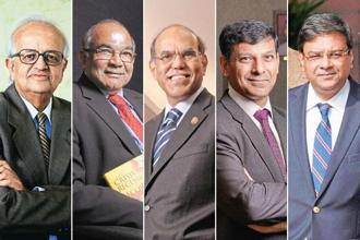 (From left) Former RBI governors Bimal Jalan, Y.V. Reddy, D. Subbarao and Raghuram Rajan, and current governor Urjit Patel.