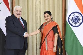 Walid Al Moualem, Syrian deputy prime minister and minister of foreign affairs, with external affairs minister Sushma Swaraj at Hyderabad House in New Delhi last year. Photo: Sushil Kumar/ Hindustan Times