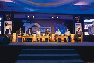 (From left) V.S. Radhakrishnan, MD and CEO of Janalakshmi Financial Services; Jiji Mammen, CEO of Mudra Bank; Jaspal Bindra, executive chairman of Centrum Group; Rajiv Lall, founder, MD and CEO of IDFC Bank; Tamal Bandyopadhyay, consulting editor of Mint; K.C. Chakrabarty, former deputy governor of the Reserve Bank of India; Samit Ghosh, MD and CEO of Ujjivan Financial Services; and Chandra Shekhar Ghosh, MD and CEO of Bandhan Bank at the 10th Mint Annual Banking Conclave in Mumbai.Aniruddha Chowdhury/Mint