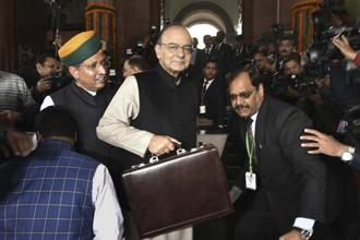 Union finance minister Arun Jaitley outside the Parliament before his Union Budget 2017 presentation. Photo: Hindustan Times