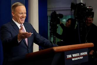 White House press secretary Sean Spicer referred to a fictional 'terroristic' (sic) attack in Atlanta, and he did so thrice, as he listed places where extremist violence had occurred. Photo: Reuters