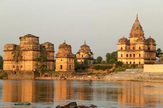 A view of the cenotaphs from across the Betwa river. Photographs by Charukesi Ramadurai