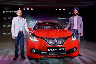 Maruti Suzuki CEO Kenichi Ayukawa and ED R.S. Kalsi at the launch of New Baleno RS in New Delhi on Friday. Photo: PTI