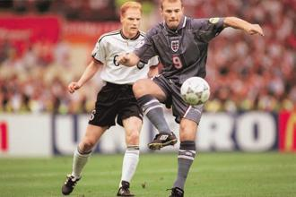 A file photo of Alan Shearer and Matthias Sammer. Photo: Getty Images