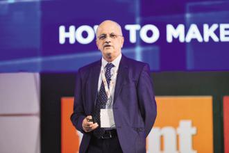 R. Chandrasekhar, president of Nasscom, at EmTech India 2017 in New Delhi on Thursday. Photo: Pradeep Gaur/Mint