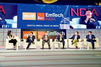 A panel discussion at the Mint and MIT Technology Review's EmTech India Innovators Under 35 event last week.  Photo: Ramesh Pathania/Mint