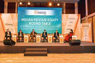 (From left) Vishal Nevatia, managing partner at True North; Sudhir Variyar, co-founder of Multiples; Kunal Shroff, managing partner at ChrysCapital; Karan Singh, partner at Trilegal; Atul Kapur, co-founder at Everstone Group; and Mint's national deals editor Shrija Agrawal at the Mint India Private Equity Conclave 2017 in Mumbai. Photo: Aniruddha Chowdhury/mint