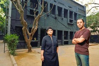 Artist Zuleikha Chaudhari and Vishal Dar at 24, Jor Bagh. Photo: Pradeep Gaur/Mint