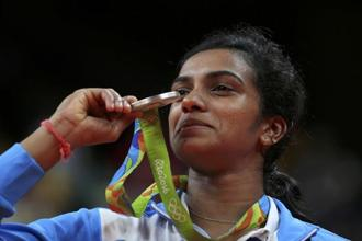 Badminton player P.V. Sindhu won the silver medal at the Rio Olympics last year. Photo: Reuters