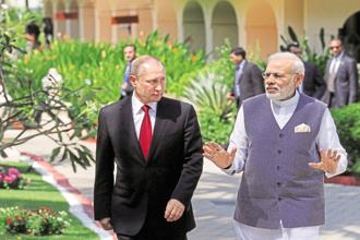 File photo of Russian President Vladamir Putin with Indian Prime Minister Narendra Modi. Photo: Reuters