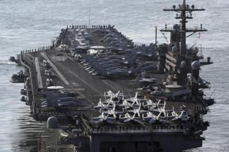US aircraft carrier the USS Carl Vinson has been diverted to the Western Pacific instead of sailing from Singapore to Australia. Photo: AP