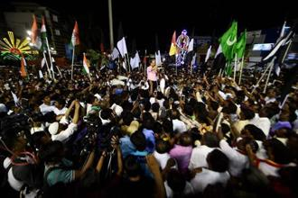 An election rally in R.K. Nagar constituency of Tamil Nadu. The bypoll to R.K. Nagar constituency was necessitated following the death of former chief minister J. Jayalalithaa on 5 December. Photo: PTI