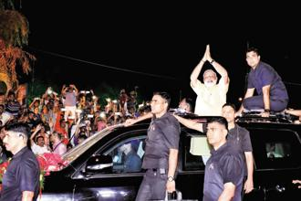 Prime Minister Narendra Modi on Sunday night received a rousing reception in Surat as he kicked off a two-day visit to Gujarat with an 11km-long roadshow. Photo: PTI