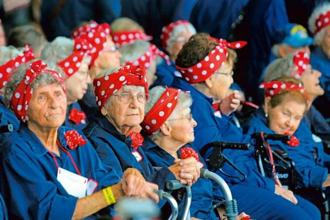 A 2015 photo of some of the original Rosie the Riveter women in Michigan. Photo: AP