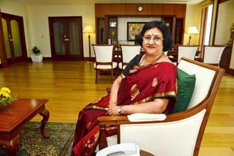 Arundhati Bhattacharya in her spacious cabin. Photographs by Abhijit Bhatlekar/Mint
