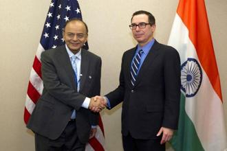 Finance Minister Arun Jaitley with US treasury secretary Steven Mnuchin before a bilateral meeting during the World Bank/IMF Spring Meetings in Washington  on Saturday. Photo: AP