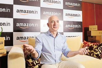 In 2014, Jeff  Bezos committed to spend $2 billion to grow Amazon's India business, but in June last year, Amazon upped its India commitment by another $3 billion. Photo: Hemant Mishra/Mint